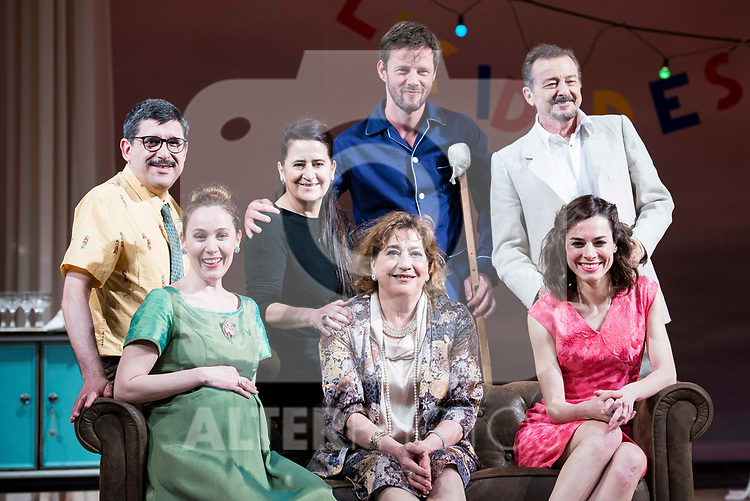 "Jose Luis Patiño, the director Amelia Ochandiano, Eloy Azorin, Juan Diego, Marta Molina, Ana Marzoa and Begoña Maestre during theater play of ""Una gata sobre un tejado de Cinc caliente"" at Reina Victoria theater in Madrid, Spain. March 15, 2017. (ALTERPHOTOS/BorjaB.Hojas)"