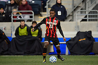 Maryland Terrapins midfielder Suli Dainkeh (22). The Notre Dame Fighting Irish defeated the Maryland Terrapins 2-1 during the championship match of the division 1 2013 NCAA  Men's Soccer College Cup at PPL Park in Chester, PA, on December 15, 2013.