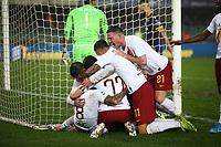 Henrikh Mkhitaryan of AS Roma celebrates with team mates after scoring the goal of 1-3 <br /> Verona 1-12-2019 Stadio Bentegodi <br /> Football Serie A 2019/2020 <br /> Hellas Verona - AS Roma <br /> Photo Gino Mancini / Insidefoto