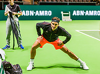 Rotterdam, Netherlands, 11 februari, 2018, Ahoy, Tennis, ABNAMROWTT, Arival of Roger Federer, warming up on centercourt<br /> Photo: Henk Koster/tennisimages.com