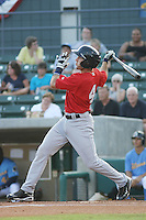 Potomac Nationals infielder Steve Lombardozzi #4 at bat during a game vs. the Myrtle Beach Pelicans at BB&T Coastal Field in Myrtle Beach, SC, on June 16, 2010. The Nationals defeated the Pelicans 13-4. Photo By Robert Gurganus/Four Seam Images
