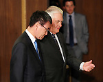 November 5, 2017, Tokyo, Japan - U.S. Secretary of State Rex Tillerson is greeted by Japanese Foreign Minister Taro Kono for their working dinner at the Iikura guesthouse in Tokyo on Sunday, November 5, 2017. U.S. President Donald Trump arrived here on a three-day official visit to Japan for the first leg of his Asian tour.    (Photo by Yoshio Tsunoda/AFLO) LWX -ytd-