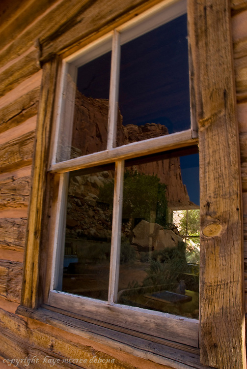Landscapes of Capitol Reef National Park-reflections from Fruita schoolhouse window.