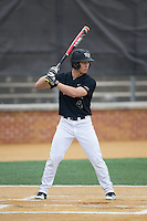 Stuart Fairchild (4) of the Wake Forest Demon Deacons at bat against the Clemson Tigers at David F. Couch Ballpark on March 12, 2016 in Winston-Salem, North Carolina.  The Tigers defeated the Demon Deacons 6-5.  (Brian Westerholt/Four Seam Images)