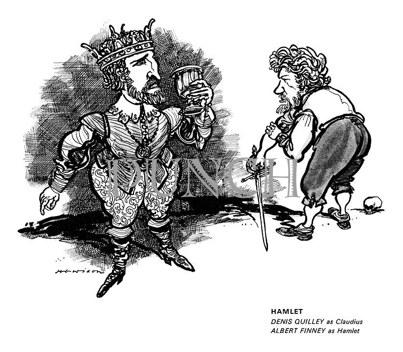 Hamlet. Denis Quilley as Claudius, Albert Finney as Hamlet