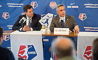 Houston, TX - Thursday Oct. 06, 2016: Chris Canetti, Jeff Plush during media day prior to the National Women's Soccer League (NWSL) Championship match between the Washington Spirit and the Western New York Flash at BBVA Compass Stadium.