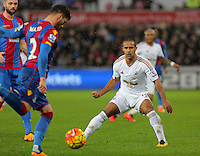 Wayne Routledge of Swansea (R) against Joel Ward of Crystal Palace (L) during the Barclays Premier League match between Swansea City and Crystal Palace at the Liberty Stadium, Swansea on February 06 2016