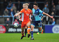 Blackpool's Brad Potts under pressure from Wycombe Wanderers' Luke O'Nien<br /> <br /> Photographer Kevin Barnes/CameraSport<br /> <br /> The EFL Sky Bet League Two - Wycombe Wanderers v Blackpool - Saturday 11th March 2017 - Adams Park - Wycombe<br /> <br /> World Copyright &copy; 2017 CameraSport. All rights reserved. 43 Linden Ave. Countesthorpe. Leicester. England. LE8 5PG - Tel: +44 (0) 116 277 4147 - admin@camerasport.com - www.camerasport.com