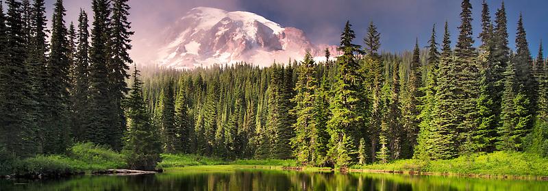 Reflection Lake with fog on Mt. Rainier. Mt. Rainier National Park, Washington