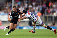 Phil Dollman of Exeter Chiefs gets past Will Spencer of Leicester Tigers. Gallagher Premiership match, between Exeter Chiefs and Leicester Tigers on September 1, 2018 at Sandy Park in Exeter, England. Photo by: Patrick Khachfe / JMP