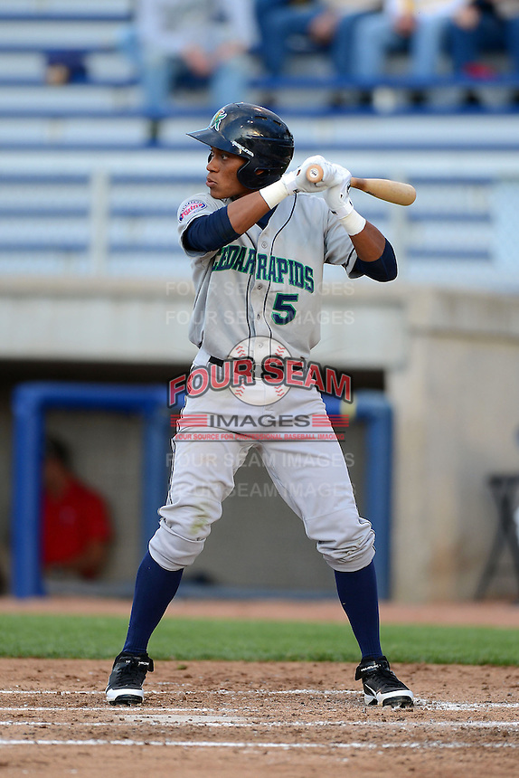 Cedar Rapids Kernels shortstop Jorge Polanco #5 during a game against the Beloit Snappers on May 22, 2013 at Pohlman Field in Beloit, Wisconsin.  Beloit defeated Cedar Rapids 7-6.  (Mike Janes/Four Seam Images)