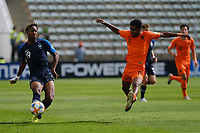 17th November 2019; Bezerrao Stadium, Brasilia, Distrito Federal, Brazil; FIFA U-17 World Cup football 3rd placed game 2019, Netherlands versus France; Ian Maatsen of Netherlands tries to stop the cross from Brandon Soppy of France<br />  - Editorial Use