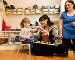 April 7, 2017. Durham, North Carolina.<br /> <br /> Lis Tyroler, right, one of the owners of Nido, works with Filomena Overington  in the on site daycare center. <br /> <br /> Nido is a co-working space which also offers a Montessori preschool on site. Catering to working parents with morning and afternoon preschool shifts, Nido has thrived and is actively looking for a larger space. <br /> <br /> Jeremy M. Lange for The New York TImes