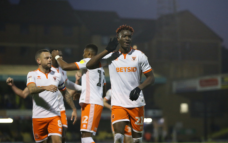 Blackpool's Armand Gnanduillet celebrates scoring his side's second goal <br /> <br /> Photographer Rob Newell/CameraSport<br /> <br /> The EFL Sky Bet League One - Southend United v Blackpool - Saturday 17th November 2018 - Roots Hall - Southend<br /> <br /> World Copyright © 2018 CameraSport. All rights reserved. 43 Linden Ave. Countesthorpe. Leicester. England. LE8 5PG - Tel: +44 (0) 116 277 4147 - admin@camerasport.com - www.camerasport.com
