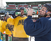 Craig Wyszomirski (Merrimack - 2) -  - The participating teams in Hockey East's first doubleheader during Frozen Fenway practiced on January 3, 2014 at Fenway Park in Boston, Massachusetts.