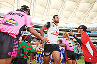 Peta Hiku of the NZ Warriors, Rabbitohs v Vodafone Warriors, NRL rugby league premiership. Optus Stadium, Perth, Western Australia. 10 March 2018. Copyright Image: Daniel Carson / www.photosport.nz