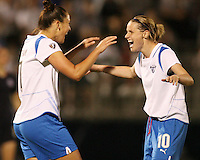 Christine Latham #7 of the Boston Breakers is greeted by Kelly Smith #10 after scoring the second goa lfor Boston during a WP against the Washington FreedomS match at the Maryland Soccerplex, in Boyd's, Maryland, on April 18 2009. Breakers won the match 3-1.