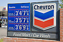 A Chevron gas price list in 2007. Mountain View, California, USA