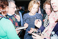 Republican presidential candidate Carly Fiorina greets people after speaking at a town hall campaign event at LaBelle Winery in Amherst, New Hampshire.