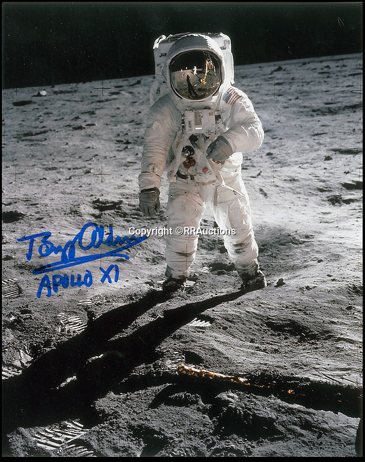 BNPS.co.uk (01202 558833)<br /> Pic : RRAuctions/BNPS<br /> <br /> Buzz Aldrin on the moon - signed by the astronaut.<br /> <br /> One small step-by-step for man...<br /> <br /> Fascinating step-by-step plan of the historic first moon landing reveals NASA's meticulous planning. <br /> <br /> A collection of rare artefacts from the Apollo 11 mission are being sold on the 50th anniversary of the historic moon landings.<br /> <br /> The sale also includes an American flag carried to the moon, Neil Armstrong's toy plane that first inspired him to fly, along with his Robbins medal and the visitors book from Airforce One with comments from the astronauts and their wives.<br /> <br /> The items are going under the hammer with US based RR Auctions who expect them to fetch over £127,000. ($160,000)