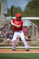 Cayden Wallace during the WWBA World Championship at the Roger Dean Complex on October 18, 2018 in Jupiter, Florida.  Cayden Wallace is a third baseman from Greenbrier, Arkansas who attends Greenbrier High School and is committed to Arkansas.  (Mike Janes/Four Seam Images)