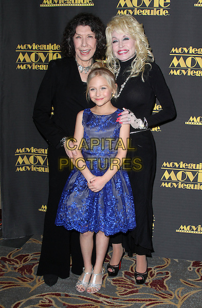 05 February 2016 - Los Angeles, California - Lily Tomlin, Alyvia Alyn Lind and Dolly Parton. 24th Annual MovieGuide Awards 2016 - Press Room held at the Universal Hilton Hotel.  <br /> CAP/ADM<br /> &copy;ADM/Capital Pictures