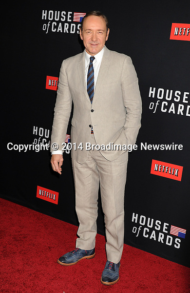 Pictured: Kevin Spacey<br /> Mandatory Credit &copy; Gilbert Flores/Broadimage<br /> Netflex's &quot;House of Cards&quot; Season 2 Special Screening<br /> <br /> 2/13/14, Hollywood, California, United States of America<br /> <br /> Broadimage Newswire<br /> Los Angeles 1+  (310) 301-1027<br /> New York      1+  (646) 827-9134<br /> sales@broadimage.com<br /> http://www.broadimage.com