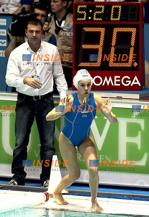 Eindhoven , Netherlands (NED) 20/1/2012.LEN European  Water Polo Championships 2012.Day 05 - Women.Italia (White) - Spain (Blue).Italia coach Fabio Conti.7 di MARIO Tania.Photo Insidefoto / Giorgio Scala
