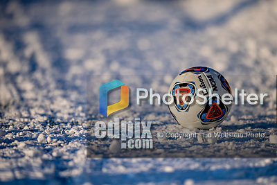 13 November 2019: An NCAA Regulation Soccer Ball lies on the snow prior to a playoff game between the University of Vermont Catamounts and the University of Hartford Hawks at Virtue Field in Burlington, Vermont. The Catamounts fell to the visiting Hawks 3-2 in sudden death overtime of the Division 1 Men's Soccer America East matchup. Mandatory Credit: Ed Wolfstein Photo *** RAW (NEF) Image File Available ***