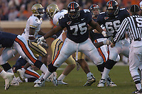 12 November 2005: Virginia tackle Eugene Monroe (75)..The Virginia Cavaliers defeated the Georgia Tech Yellow Jackets 27-17 at Scott Stadium in Charlottesville, VA.