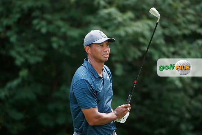 Tiger Woods (USA) tees off on the 9th hole during the 1st round of the 100th PGA Championship at Bellerive Country Club, St. Louis, Missouri, USA. 8/9/2018.<br /> Picture: Golffile.ie | Brian Spurlock<br /> <br /> All photo usage must carry mandatory copyright credit (© Golffile | Brian Spurlock)