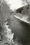 Bear Creek runs alongside Interstate 5 through Medford, Oregon, in the winter