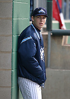 Camden Riversharks Stephen Drew in the dugout during an Atlantic League game against the Lancaster Barnstormers at Campbell's Field on May 5, 2005 in Camden, New Jersey.  (Mike Janes/Four Seam Images)