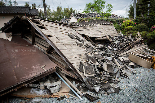 KUMAMOTO, JAPAN - APRIL 16: Roof tiles that fell from a house in Mashiki, Kumamoto Prefecture, are seen on Friday morning. The area was severely hit by a magnitude 7 quake Saturday early morning on April 16, 2016 in Mashiki, Kumamoto prefecture, Japan. <br /> (Photo by Richard A. de Guzman/AFLO)