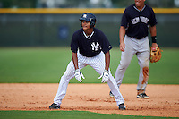 GCL Yankees 1 outfielder Leonardo Molina (61) leads off first during a game against the GCL Yankees 2 on July 29, 2015 at the Yankee Minor League Complex in Tampa, Florida.  The game was suspended after two innings due to rain.  (Mike Janes/Four Seam Images)
