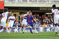 28th March 2018, Mini Estad, Barcelona, Spain; Womens Champions League football, quarter final, 2nd leg, Barcelona Women versus Lyon Women; Andonova FC Barcelona shoots at goal
