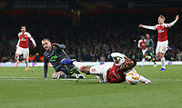 Sporting CP's Jeremy Mathieu brings down Arsenal's Pierre-Emerick Aubameyang to earn himself a red card <br /> <br /> Photographer Rob Newell/CameraSport<br /> <br /> UEFA Europa League Group E - Arsenal v Sporting CP - Thursday 8th November 2018 - Arsenal Stadium - London<br />  <br /> World Copyright © 2018 CameraSport. All rights reserved. 43 Linden Ave. Countesthorpe. Leicester. England. LE8 5PG - Tel: +44 (0) 116 277 4147 - admin@camerasport.com - www.camerasport.com