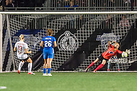 Allston, MA - Saturday Sept. 24, 2016: Abigail Dahlkemper, Libby Stout during a regular season National Women's Soccer League (NWSL) match between the Boston Breakers and the Western New York Flash at Jordan Field.