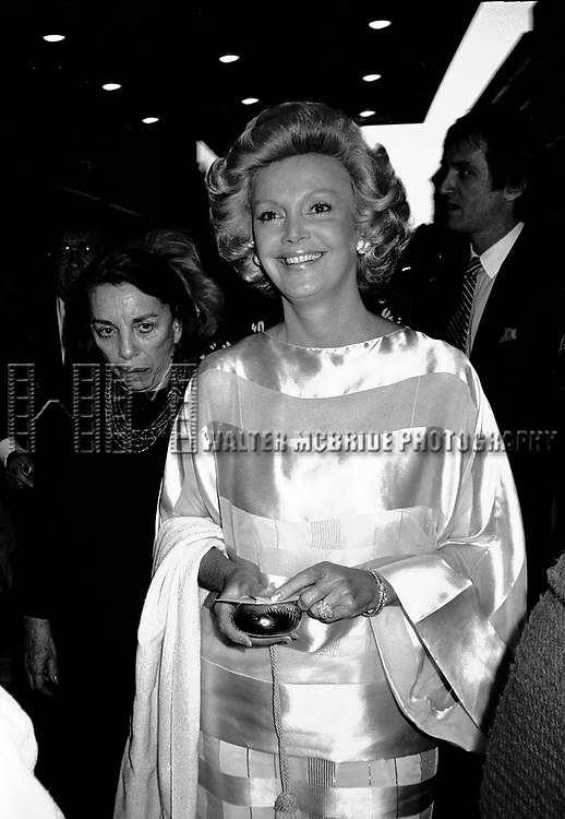 Barbara Sinatra seeing a performance of NINE  on June 1, 1982 at the 46th Sreet Theatre in New York City.