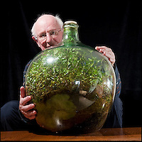 BNPS.co.uk (01202 558833).Pic: Phil Yeomans/BNPS..Eco-message in a bottle.....Amateur gardener David Latimer from Cranleigh in Surrey has astonished experts on the long running BBC radio show Gardeners Question Time by showing them his 52 year old 'bottle garden' - that has been sealed by a cork without water since 1972 and amazingly still seems to be thriving...David carefully planted a Tradescanthia plant in a 10 gallon 'carboy' Sulphuric acid jar in 1960 as an experiment, topping it up with 1/4 pint of water through the sixties the bung was finally put in for good in 1972.. .Since then the bottle has been almost forgotten under the stairs apart from one precarious trip down the M6 when the couple retired to Surrey...Expert Chris Beardshaw described the strange survivor as the 'wonderful example of a perfect cycle of life' ..