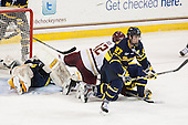 Rasmus Tirronen (Merrimack - 32), Alex Tuch (BC - 12), Justin Mansfield (Merrimack - 27) - The Boston College Eagles defeated the visiting Merrimack College Warriors 2-1 on Wednesday, January 21, 2015, at Kelley Rink in Conte Forum in Chestnut Hill, Massachusetts.