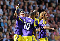 Pictured L-R: Pablo Hernandez of Swansea celebrating his goal with team mates Jonathan de Guzman, Chico Flores and Jose Canas, making the score 0-2 to his team.. Sunday 01 September 2013<br />