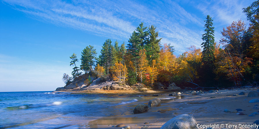 Pictured Rocks National Lakeshore, MI<br /> Boulders and rocks on the shaded shoreline of Lake Superior & Mosquito River