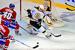 22 November 2008: Boston Bruins' defenseman Matt Hunwick in action against the Montreal Canadiens at the Bell Centre in Montreal, Quebec, Canada.  After a 2-2 regulation tie and a non-scoring 5-minute overtime period, the Boston Bruins scored the lone shootout goal thus defeating the Canadiens 3-2. The Canadiens, celebrating their 100th season, honored former Montreal goaltender Patrick Roy, and retired his jersey (Number 33) during pre-game ceremonies. ***** Editorial Use Only *****..Mandatory Photo Credit: Ed Wolfstein Photo *** Editorial Sales through Icon Sports Media *** www.iconsportsmedia.com