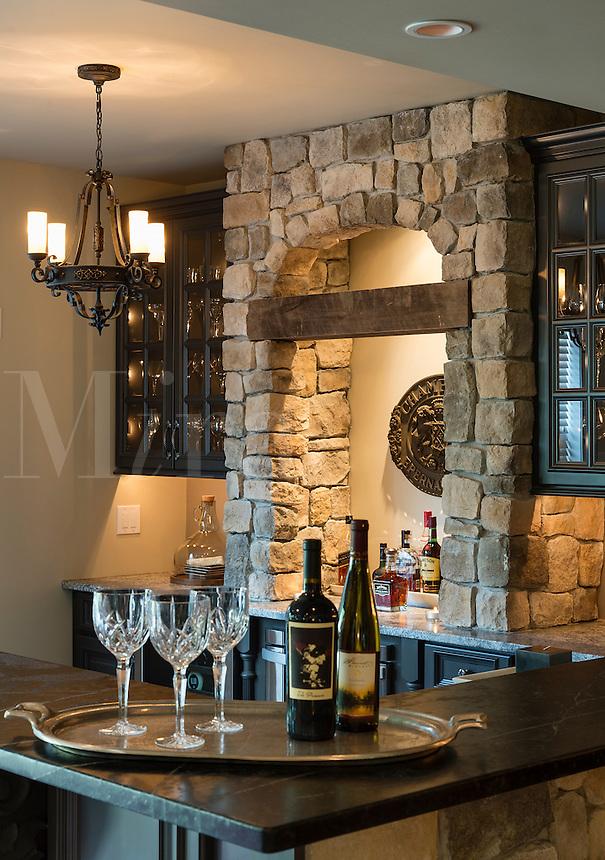 Rustic home bar interior design.
