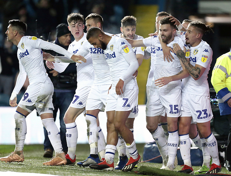 Leeds United's Stuart Dallas (2nd right) is mobbed by team-mates as he celebrates scoring the opening goal <br /> <br /> Photographer Rich Linley/CameraSport<br /> <br /> The EFL Sky Bet Championship - Leeds United v Reading - Tuesday 27th November 2018 - Elland Road - Leeds<br /> <br /> World Copyright © 2018 CameraSport. All rights reserved. 43 Linden Ave. Countesthorpe. Leicester. England. LE8 5PG - Tel: +44 (0) 116 277 4147 - admin@camerasport.com - www.camerasport.com