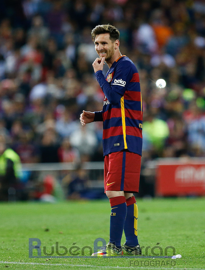 FC Barcelona´s Argentinean forward Lionel Messi lamenting during the Final of Copa del Rey match between FC Barcelona and SevillaFC at the Vicente Calderon Stadium in Madrid, Sunday, May 22, 2016.