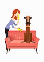 Woman approaching smelly dog on sofa with cloth and rubber gloves