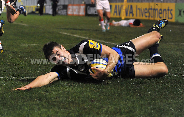 Ollie Devoto scores a try. Aviva A-League match, between Bath United and Saracens Storm on October 29, 2012 at the Recreation Ground in Bath, England. Photo by: Patrick Khachfe / Onside Images