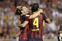 FC Barcelona's Leo Messi (l), Cesc Fabregas (r) and Neymar Santos Jr celebrate goal during La Liga match.September 1,2013. (ALTERPHOTOS/Acero) <br /> Football Calcio 2013/2014<br /> La Liga Spagna<br /> Foto Alterphotos / Insidefoto <br /> ITALY ONLY